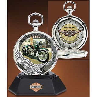 Franklin Mint Harley Davidson Legends of Freedom Pocket Watch  1936