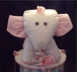 Pink DIAPER ELEPHANT Diaper Cake TOPPER Baby Shower Decorations