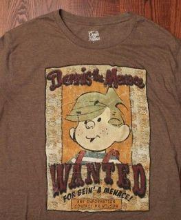 Dennis The Menace Wanted Mr. Wilson Super Soft Cartoon T Shirt Brown