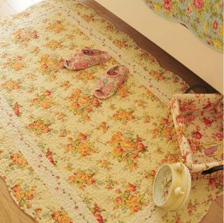 Shabby and Vintage Yellow rose Oval Area/Throw Rug