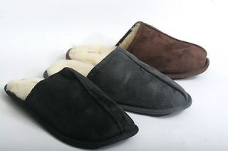 New Mens Faux Suede Shearling Inner Slip on House Slippers Shoes