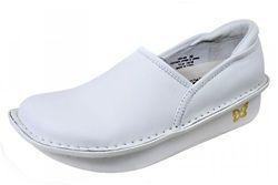 ALEGRIA Womens Debra White Leather Slip On Shoe DEB 600
