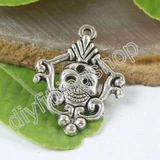 5pcs Tibetan silver crafted devil mask charms H0118