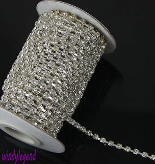 Meter 4MM Diamante Rhinestone Crystal Silver Tone Chain Cake Band