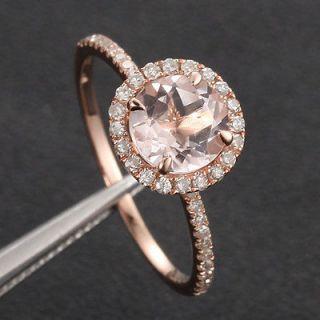 14K Rose Gold 7mm Morganite PAVE .27ct SI Diamond Engagement Ring