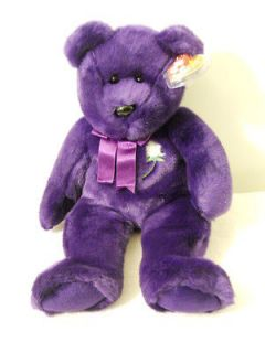 1998 Princess Diana Original Beanie Buddy Purple Soft Bear Green White