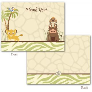 24 Printed Disney Lion King Folded Thank You Cards   Simba Safari
