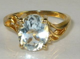 3ct Natural Oval Cut Aquamarine & Diamond 10k Yellow Gold Ring 3g