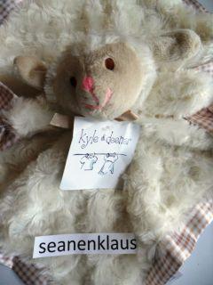 and & Deena Lamb Sheep Swirls Security Blanket Plaid Brown Tan Satin