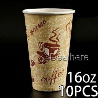 10pcs 16oz Thick Disposable Paper Cup for Coffee Tea w/Milk Juice