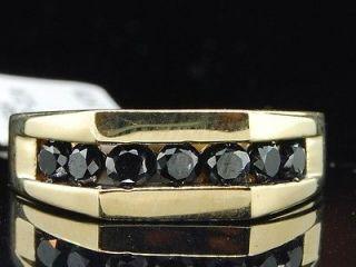 Yellow Gold Black Diamond Engagement Ring Wedding Anniversary Band Set