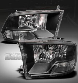 2009 2012 DODGE RAM PICKUP CRYSTAL HEADLIGHT LAMP BLACK 2010 2011 1500