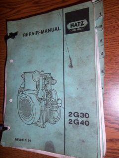 GENUINE HATZ DIESEL 2G30 / 2G40 REPAIR MANUAL EDITION 5.94