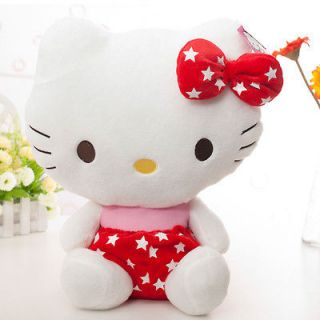 Plush Red Star Dress Sit Hello Kitty Cat Plush Doll Toy 15 Brand New