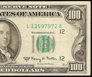 1950 E $100 DOLLAR BILL FEDERAL RESERVE NOTE ONLY 3 DISTRICT PRINTING