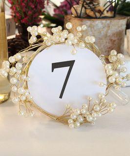Wedding Reception Pearl & Vintage Gold Wire Ornamental Ring Decoration