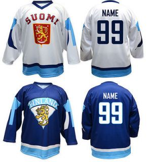 Team FINLAND Ice Hockey Fan Replica Jersey/Adult+Y outh sizes/Blank or