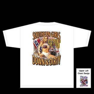 DIXIE T SHIRT SOUTHERN GIRLS GET DOWN & DIRTY P1323