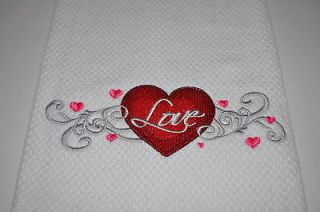 Love ly Filigree Heart Kitchen Dishtowel/Dishcloth/Tea Towel