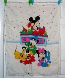 Vintage Disney Baby Mickey Minnie Donald Duck Pluto Crib Blanket