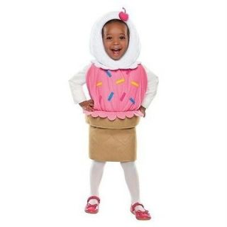 Girls ICE CREAM CONE Costume Size 12 24 mo 2T 3T Toddler Double Scoop