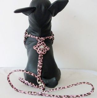New PU Leather Dog Harness Soft Pet Rhinestone Adjustable Lead for