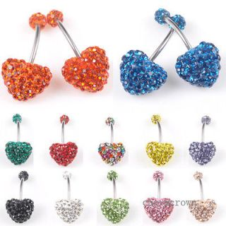 Love Navel Belly Button Bar Ring CZ Crystal Body Piercing Hot C8481