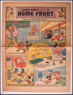 Mouse On The Home Front, Disney WWII War Comic Donald Duck Dwarfs VF