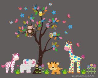 Childrens Wall Decals Nursery Baby Jungle/Safari/ Tree/Theme 85 x 105