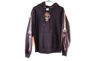 Black Hoodie Skull Bone Punk Sweatshirt One of a Kind Small Pirate