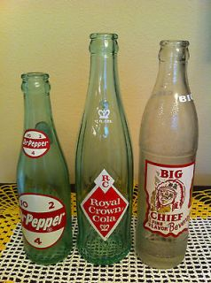 soda bottles Royal crown RC cola, Big Chief, Dr Pepper acl soda bottle
