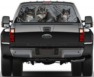 Wolves in Woods. Winter Rear Window Graphic Decal Sticker Tint Truck