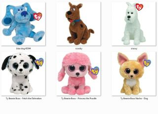 Ty Beanie Babies Dogs Scooby Doo Snowy Blue Clues Dog, Nacho Fetch