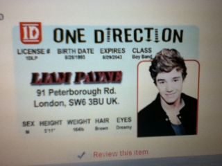 id card of Liam Payne ONE DIRECTION Drivers License