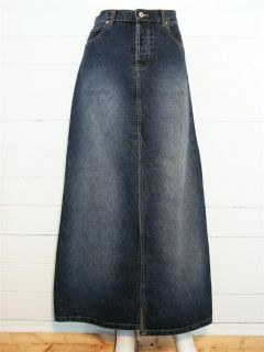 MOE StoneWash Dark Blue Denim Button Fly Long Jean Skirt, Sz 9
