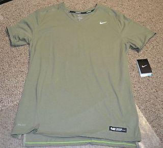 Nike MILER DRI FIT Mens Short Sleeve Running Shirt Green Reflective