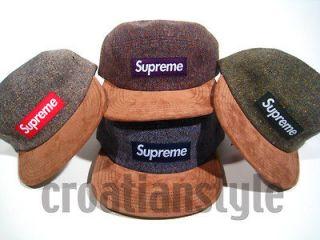 Supreme Box Logo DONEGAL Wool Camp Cap tweed suede 5 panel hat zebra