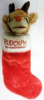 VINTAGE 1993 RUDOLPH RED NOSED REINDEER CHRISTMAS STOCKING SINGS