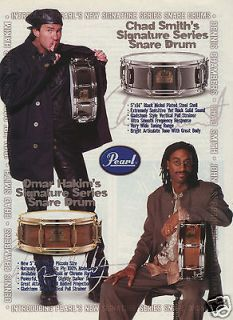 Omar Hakim Chad Smith Photos Signature Series Snare Drums Original Ad