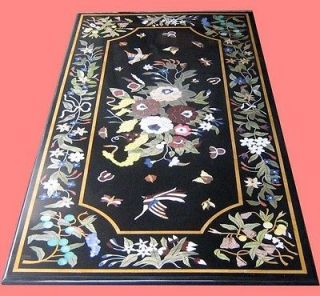 Pietra Dura Marble Stone Inlaid Dining Table Top Handcrafted FNE EHS