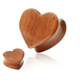Organic Wood Heart EAR PLUGS Double Flared Organics Piercing Gauges