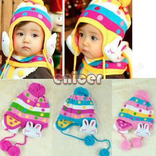 Cute Bunny Cap Ear Flap Hat BEANIE Winter For Baby Kid 4 Colors Hot