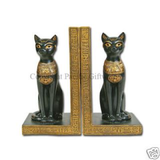 EGYPTIAN BASTET CAT SET OF TWO BOOKENDS STATUE FIGURINE