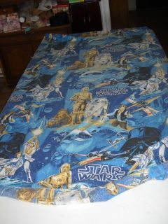 Vintage 1977 Star Wars Double Fitted bed sheet dark blue style used