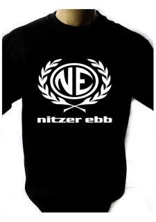 NITZER EBB LOGO BLACK NEW T SHIRT FRUIT OF THE LOOM print by DTG