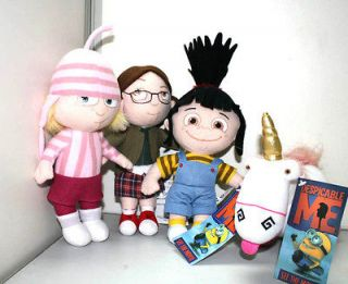 4pcs Despicable Me Character Agnes Edith Margo Fluffy Unicorn Plush