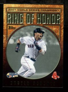 AV) 2009 Topps DUSTIN PEDROIA Ring of Honor Red Sox 2007 World Series