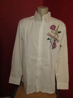 EDWARD DADA Mens Embroidered Shirt PASSION Rose & Dagger Tattoo