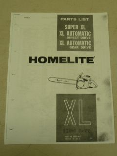 HOMELITE SUPER XL CHAIN SAW PARTS MANUAL PART #23840 REV. 2, COPY