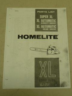HOMELITE SUPER XL CHAIN SAW PARTS MANUAL PART #23840 REV. 2, COPY